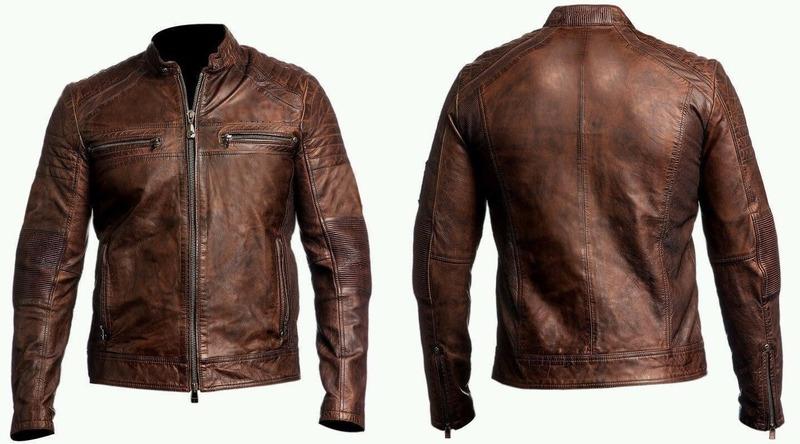 dbb98d2bf Ebay.com Mens Biker Vintage Motorcycle Cafe Racer Brown Distressed Leather  Jacket