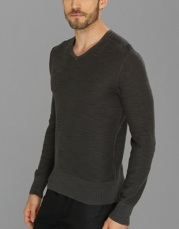 John Varvatos Star USA Men/'s Deep Blue Knit Cotton V-Neck Pullover Sweater