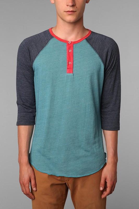 Alternative apparel 3 4 sleeve two tone henley tee pradux for 3 4 henley shirt