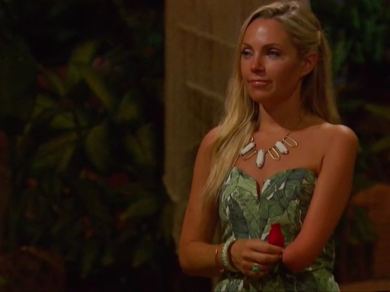Sarah Herron's Leaf Print Strapless Romper on Bachelor in Paradise
