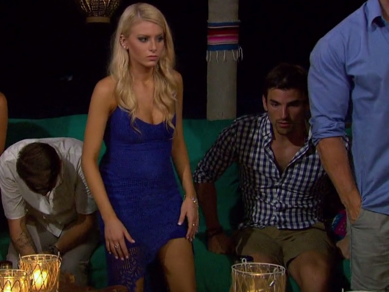 Emily Ferguson's Blue Lace Asymmetric Dress on Bachelor in Paradise