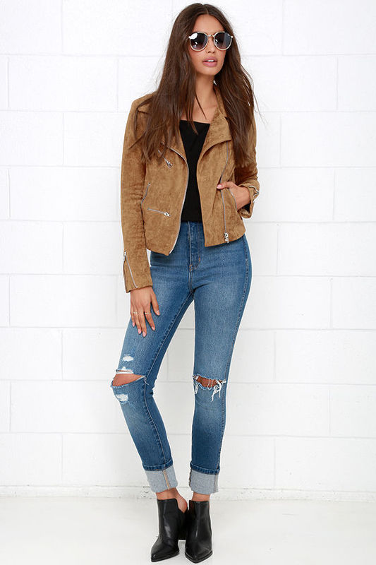 40f80164969d Lulus Suede with Love Tan Suede Moto Jacket