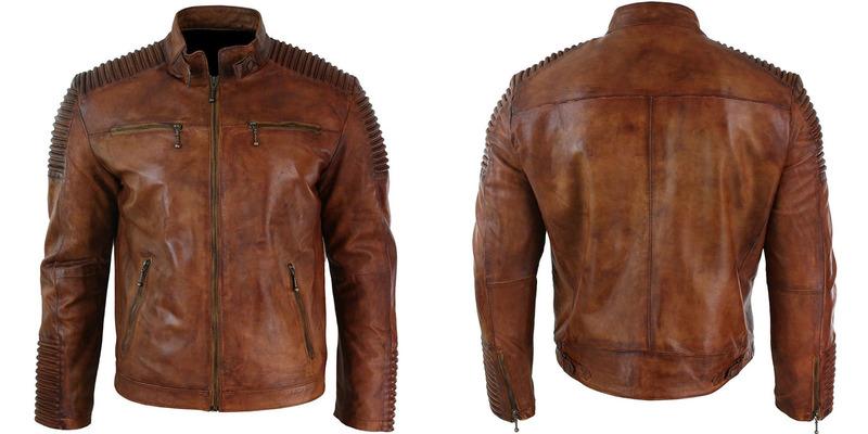 Men/'s Biker Vintage Motorcycle Distressed Brown Cafe Racer Cow Leather Jacket